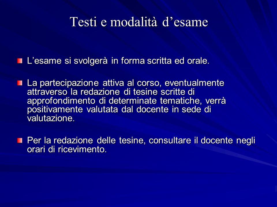 Testi e modalità desame Lesame si svolgerà in forma scritta ed orale. La partecipazione attiva al corso, eventualmente attraverso la redazione di tesi