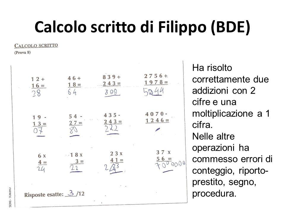Calcolo scritto di Filippo (BDE) Ha risolto correttamente due addizioni con 2 cifre e una moltiplicazione a 1 cifra. Nelle altre operazioni ha commess