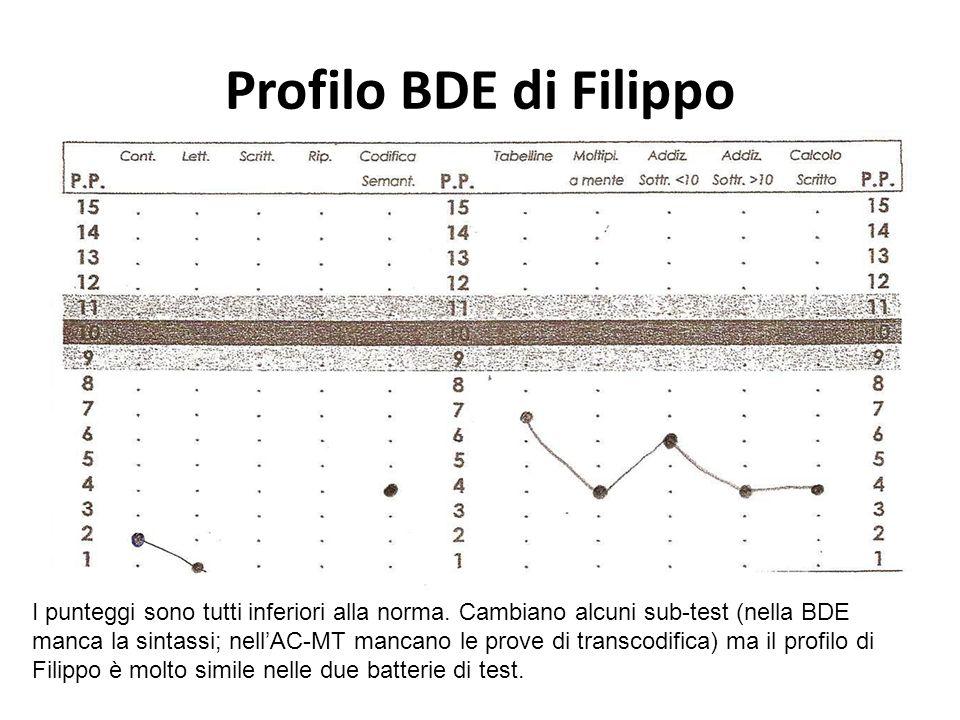 Profilo BDE di Filippo I punteggi sono tutti inferiori alla norma. Cambiano alcuni sub-test (nella BDE manca la sintassi; nellAC-MT mancano le prove d