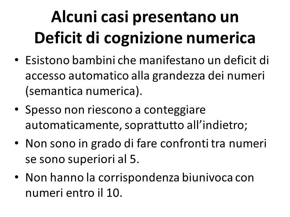 Alcuni casi presentano un Deficit di cognizione numerica Esistono bambini che manifestano un deficit di accesso automatico alla grandezza dei numeri (