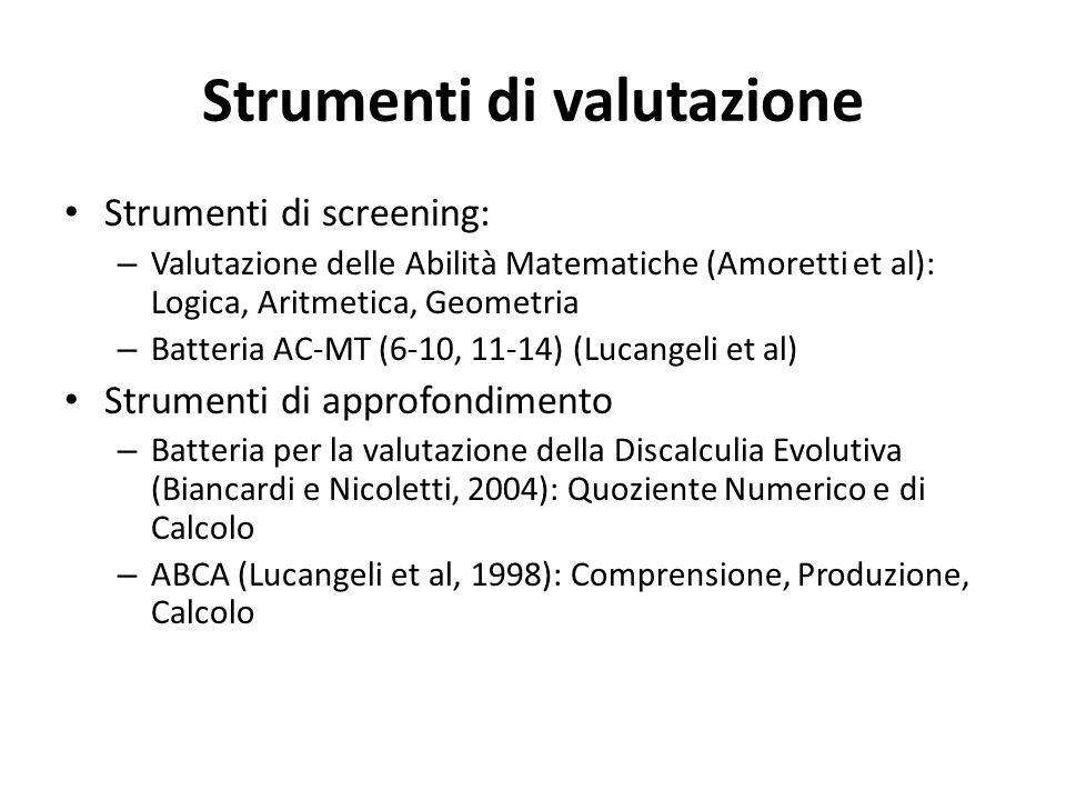 Strumenti di valutazione Strumenti di screening: – Valutazione delle Abilità Matematiche (Amoretti et al): Logica, Aritmetica, Geometria – Batteria AC