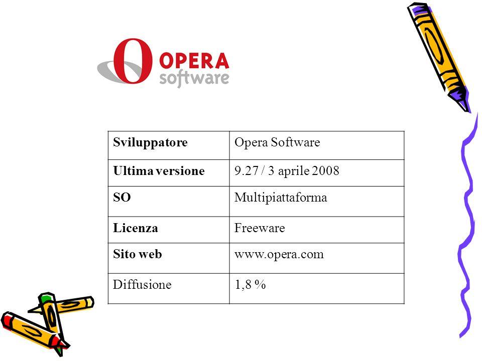 SviluppatoreOpera Software Ultima versione9.27 / 3 aprile 2008 SOMultipiattaforma LicenzaFreeware Sito webwww.opera.com Diffusione1,8 %