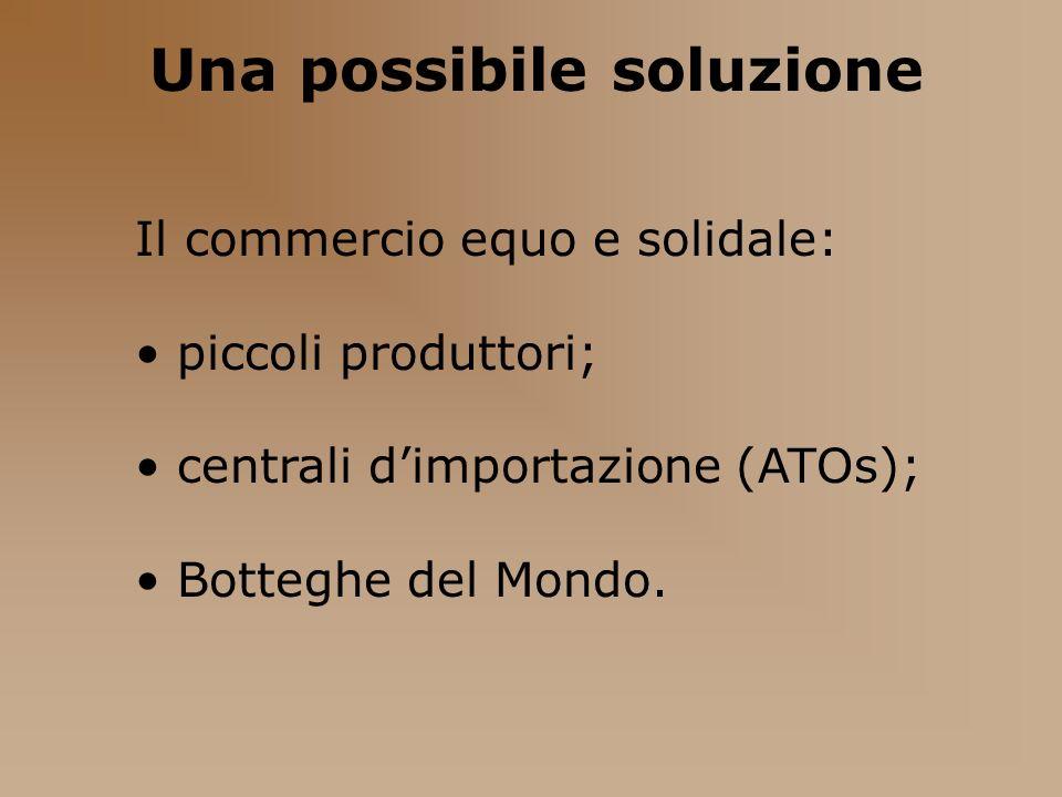 Una possibile soluzione Il commercio equo e solidale: piccoli produttori; centrali dimportazione (ATOs); Botteghe del Mondo.
