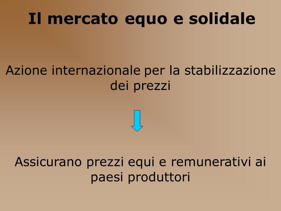 Il mercato equo e solidale Azione internazionale per la stabilizzazione dei prezzi Assicurano prezzi equi e remunerativi ai paesi produttori