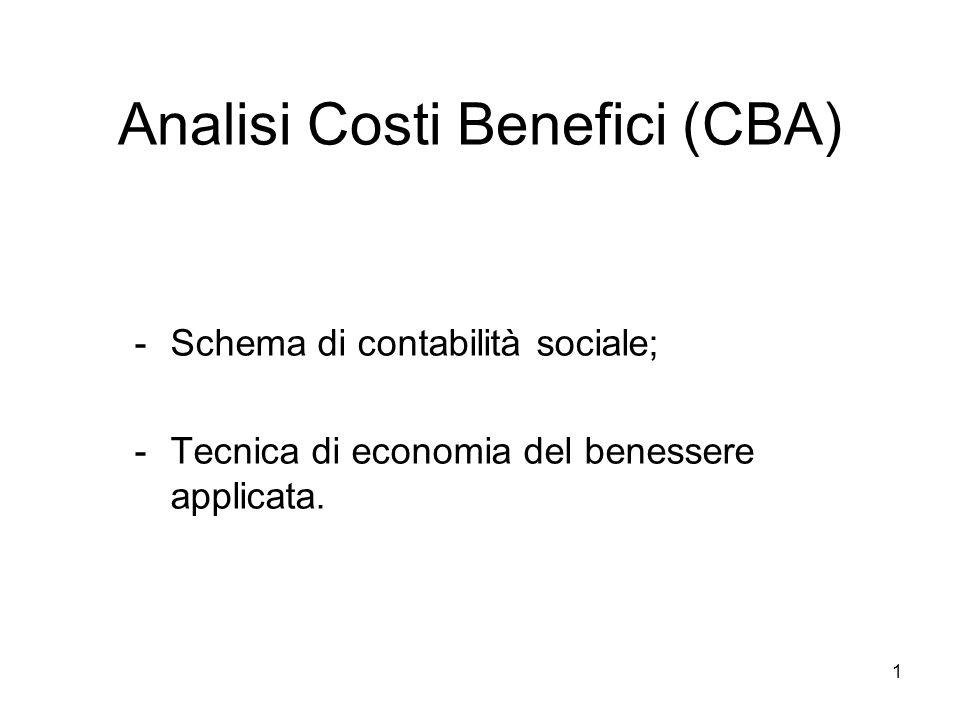 1 Analisi Costi Benefici (CBA) -Schema di contabilità sociale; -Tecnica di economia del benessere applicata.