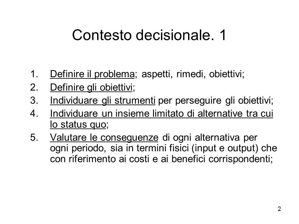 2 Contesto decisionale. 1 1.Definire il problema; aspetti, rimedi, obiettivi; 2.Definire gli obiettivi; 3.Individuare gli strumenti per perseguire gli
