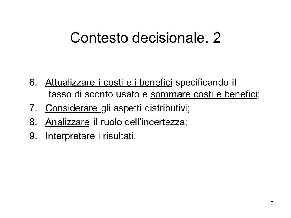 3 Contesto decisionale. 2 6. Attualizzare i costi e i benefici specificando il tasso di sconto usato e sommare costi e benefici; 7. Considerare gli as