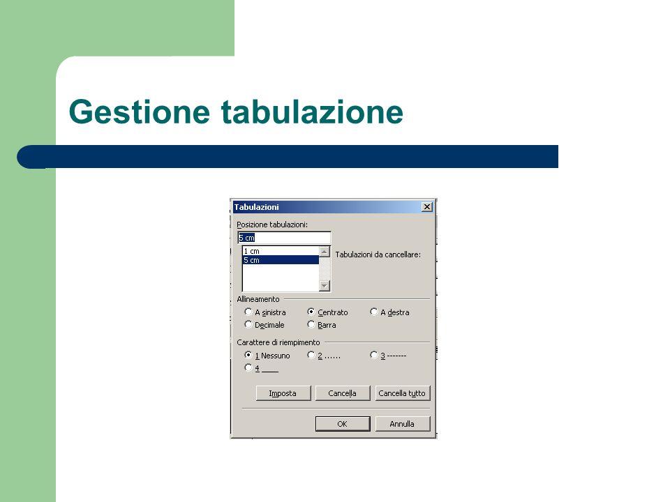 Gestione tabulazione