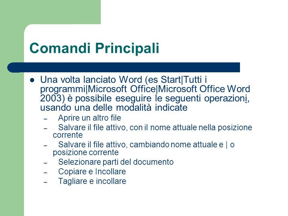 Comandi Principali Una volta lanciato Word (es Start|Tutti i programmi|Microsoft Office|Microsoft Office Word 2003) è possibile eseguire le seguenti o