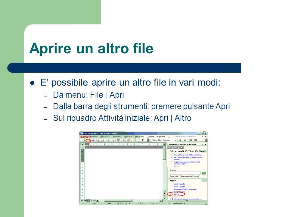 Aprire un altro file E possibile aprire un altro file in vari modi: – Da menu: File | Apri – Dalla barra degli strumenti: premere pulsante Apri – Sul