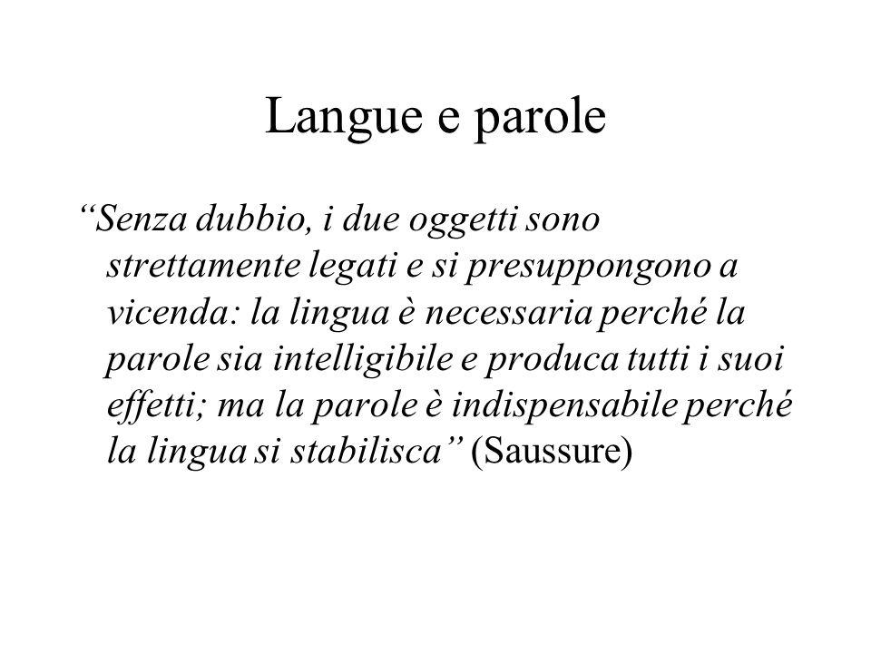 Langue e parole Senza dubbio, i due oggetti sono strettamente legati e si presuppongono a vicenda: la lingua è necessaria perché la parole sia intelli