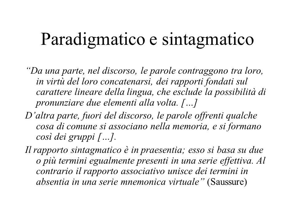 Paradigmatico e sintagmatico Da una parte, nel discorso, le parole contraggono tra loro, in virtù del loro concatenarsi, dei rapporti fondati sul carattere lineare della lingua, che esclude la possibilità di pronunziare due elementi alla volta.
