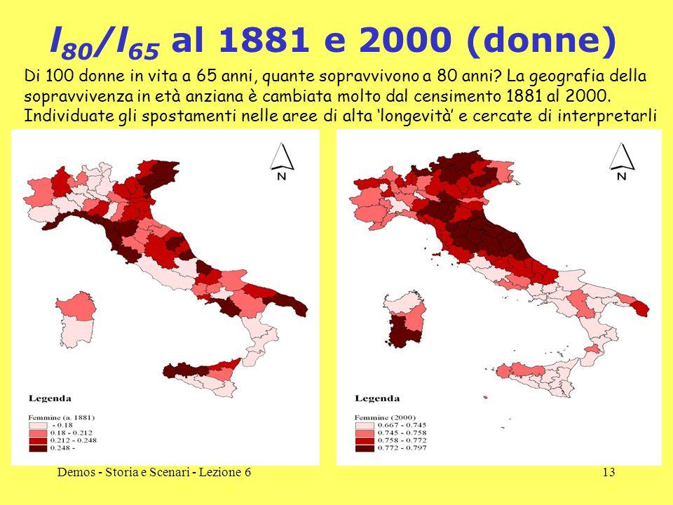 Demos - Storia e Scenari - Lezione 613 l 80 /l 65 al 1881 e 2000 (donne) Di 100 donne in vita a 65 anni, quante sopravvivono a 80 anni? La geografia d