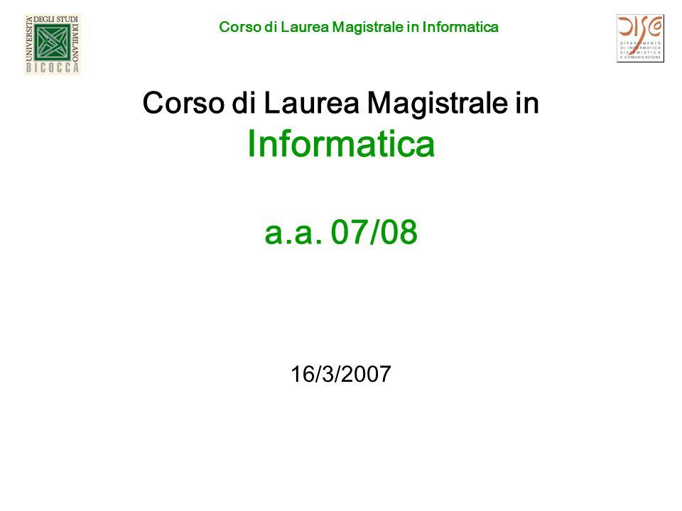 Corso di Laurea Magistrale in Informatica 16/3/2007CDL Magistrale in Informatica2 ATTENZIONE Il Regolamento per la.a.
