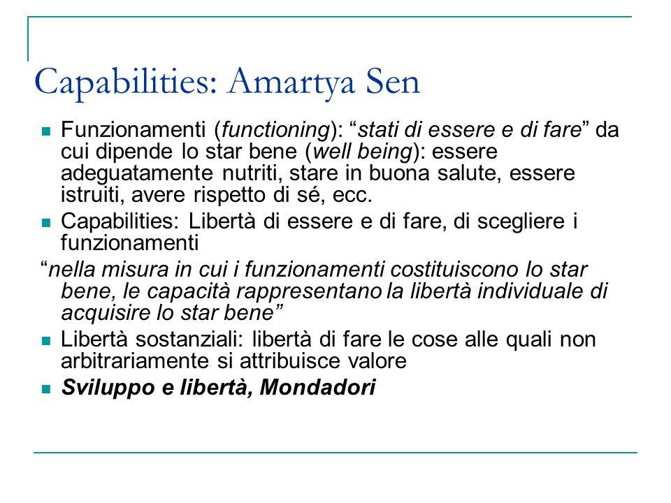 Capabilities: Amartya Sen Funzionamenti (functioning): stati di essere e di fare da cui dipende lo star bene (well being): essere adeguatamente nutrit