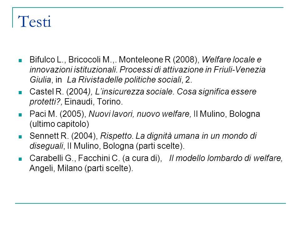 Testi Bifulco L., Bricocoli M.,. Monteleone R (2008), Welfare locale e innovazioni istituzionali. Processi di attivazione in Friuli-Venezia Giulia, in