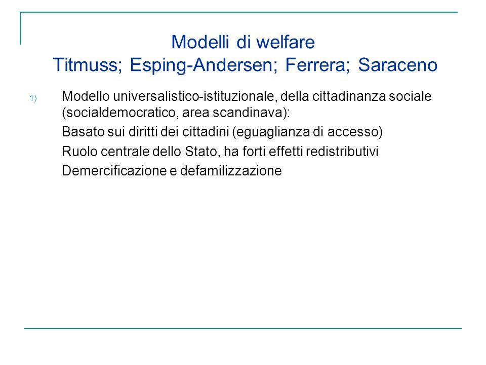 Modelli di welfare Titmuss; Esping-Andersen; Ferrera; Saraceno 1) Modello universalistico-istituzionale, della cittadinanza sociale (socialdemocratico