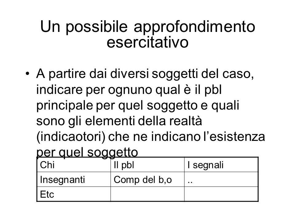 Un possibile approfondimento esercitativo A partire dai diversi soggetti del caso, indicare per ognuno qual è il pbl principale per quel soggetto e qu