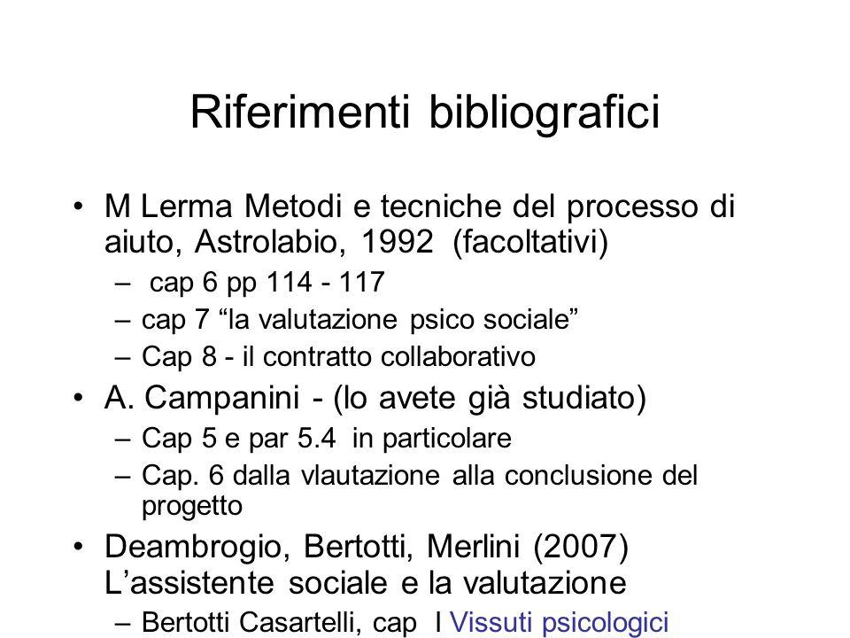 Riferimenti bibliografici M Lerma Metodi e tecniche del processo di aiuto, Astrolabio, 1992 (facoltativi) – cap 6 pp 114 - 117 –cap 7 la valutazione p