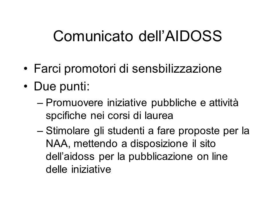Comunicato dellAIDOSS Farci promotori di sensbilizzazione Due punti: –Promuovere iniziative pubbliche e attività spcifiche nei corsi di laurea –Stimol