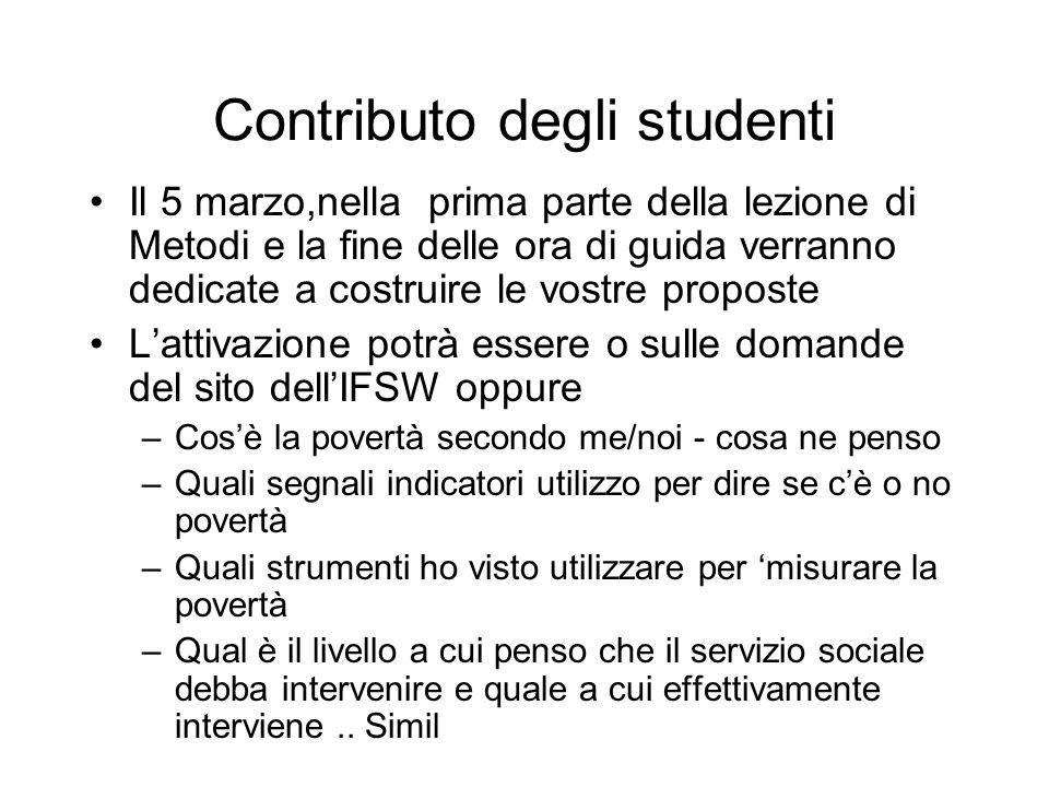 Contributo degli studenti Il 5 marzo,nella prima parte della lezione di Metodi e la fine delle ora di guida verranno dedicate a costruire le vostre pr