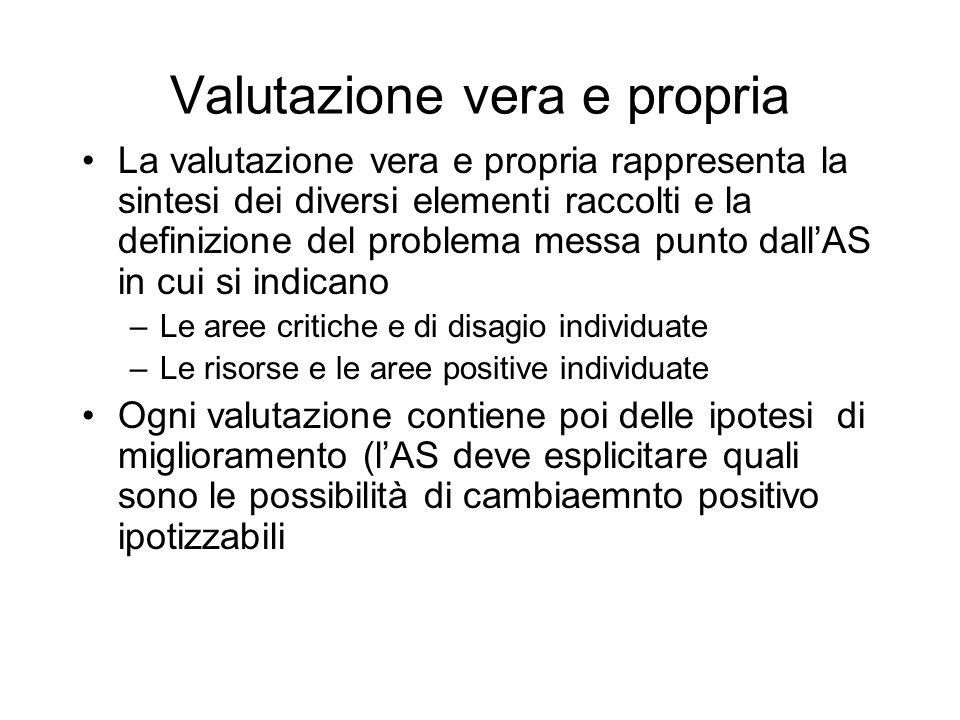 Valutazione vera e propria La valutazione vera e propria rappresenta la sintesi dei diversi elementi raccolti e la definizione del problema messa punt