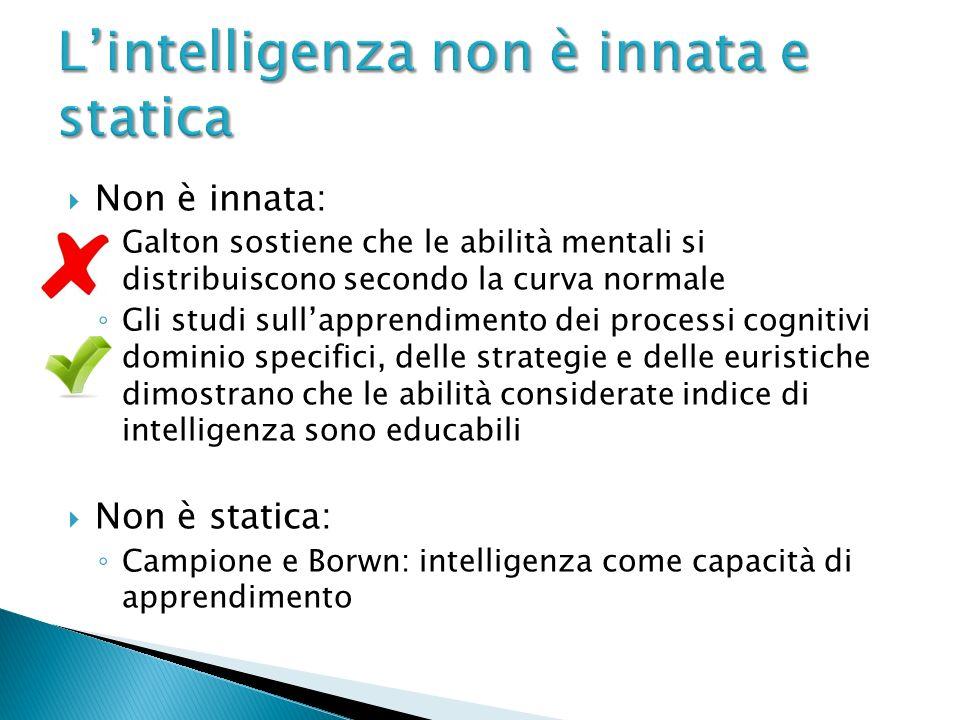 Non è innata: Galton sostiene che le abilità mentali si distribuiscono secondo la curva normale Gli studi sullapprendimento dei processi cognitivi dom