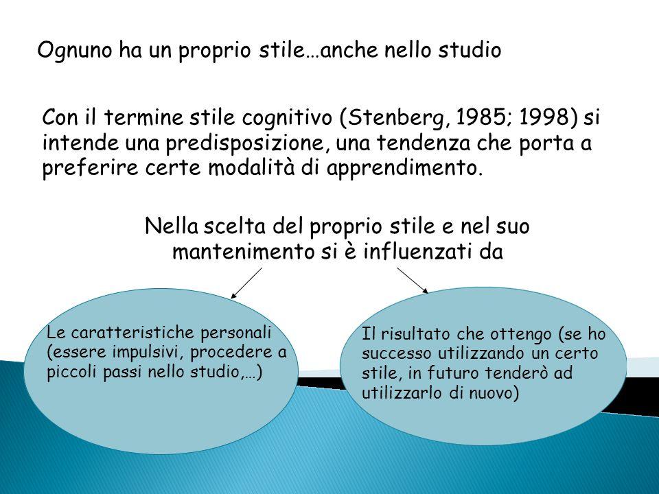 Ognuno ha un proprio stile…anche nello studio Con il termine stile cognitivo (Stenberg, 1985; 1998) si intende una predisposizione, una tendenza che p