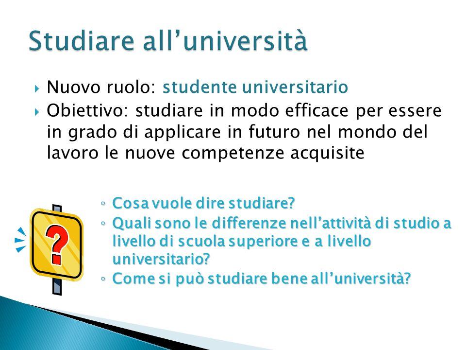 Nuovo ruolo: studente universitario Obiettivo: studiare in modo efficace per essere in grado di applicare in futuro nel mondo del lavoro le nuove comp