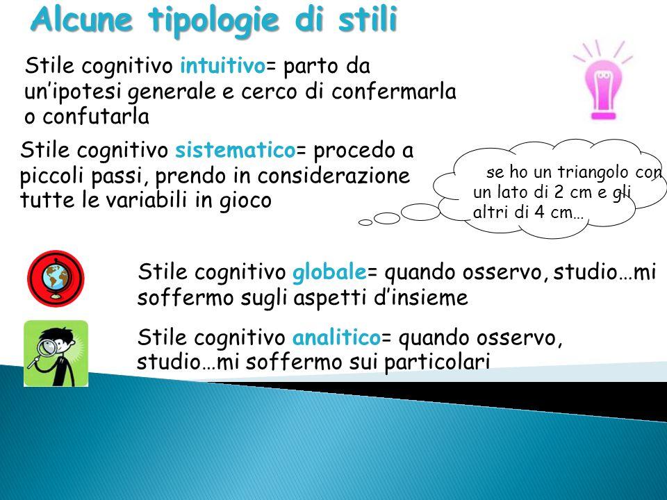 Alcune tipologie di stili Stile cognitivo intuitivo= parto da unipotesi generale e cerco di confermarla o confutarla Stile cognitivo globale= quando o
