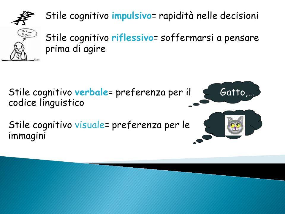 Stile cognitivo impulsivo= rapidità nelle decisioni Stile cognitivo riflessivo= soffermarsi a pensare prima di agire Stile cognitivo verbale= preferen