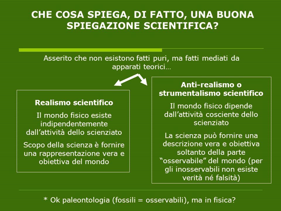 CHE COSA SPIEGA, DI FATTO, UNA BUONA SPIEGAZIONE SCIENTIFICA? Asserito che non esistono fatti puri, ma fatti mediati da apparati teorici… Realismo sci