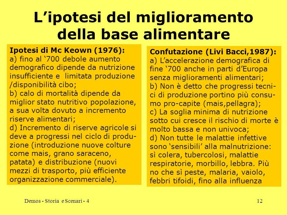 Demos - Storia e Scenari - 412 Lipotesi del miglioramento della base alimentare Ipotesi di Mc Keown (1976): a) fino al 700 debole aumento demografico