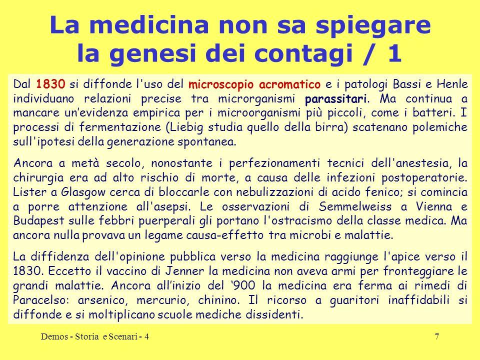Demos - Storia e Scenari - 47 La medicina non sa spiegare la genesi dei contagi / 1 Dal 1830 si diffonde l'uso del microscopio acromatico e i patologi