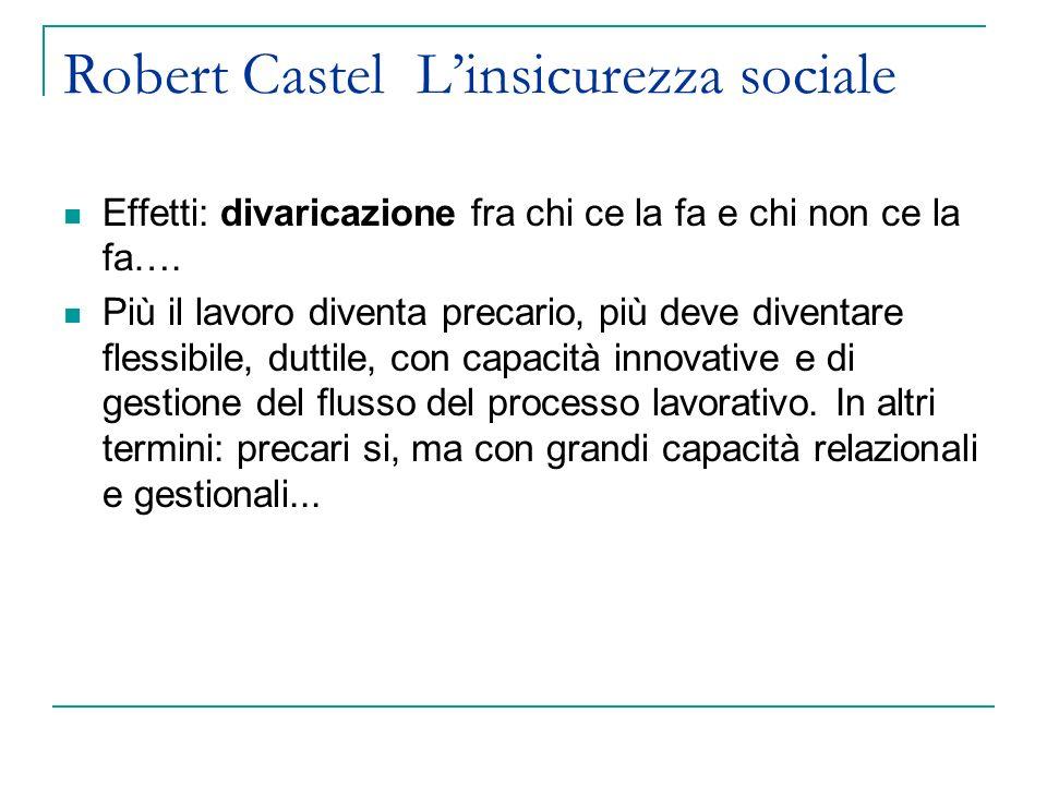 Robert Castel Linsicurezza sociale Effetti: divaricazione fra chi ce la fa e chi non ce la fa….