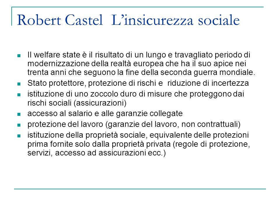 Robert Castel Linsicurezza sociale Il welfare state è il risultato di un lungo e travagliato periodo di modernizzazione della realtà europea che ha il suo apice nei trenta anni che seguono la fine della seconda guerra mondiale.