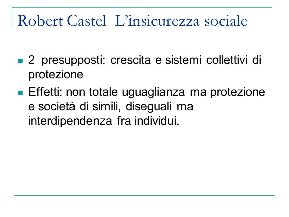 Robert Castel Linsicurezza sociale Collettivazione e status: Sistemi collettivi di protezione: sia adesione a organizzazioni che rappresentano interessi non del singolo lavoratore ma di collettività di lavoratori (i sindacati), sia appartenenza a gruppi professionali, sia regolazione collettiva, (vedi contrattazione collettiva).