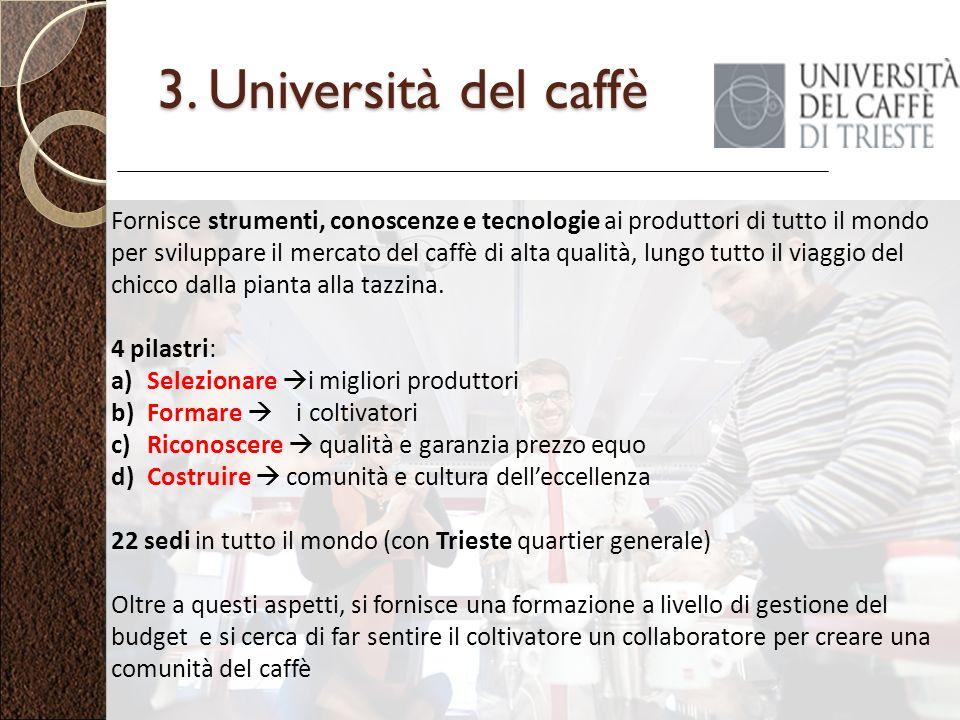 3. Università del caffè Fornisce strumenti, conoscenze e tecnologie ai produttori di tutto il mondo per sviluppare il mercato del caffè di alta qualit