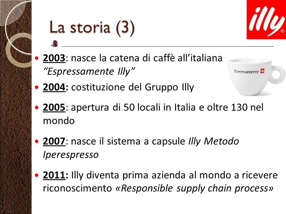 2003: nasce la catena di caffè allitaliana Espressamente Illy 2004: costituzione del Gruppo Illy 2005: apertura di 50 locali in Italia e oltre 130 nel