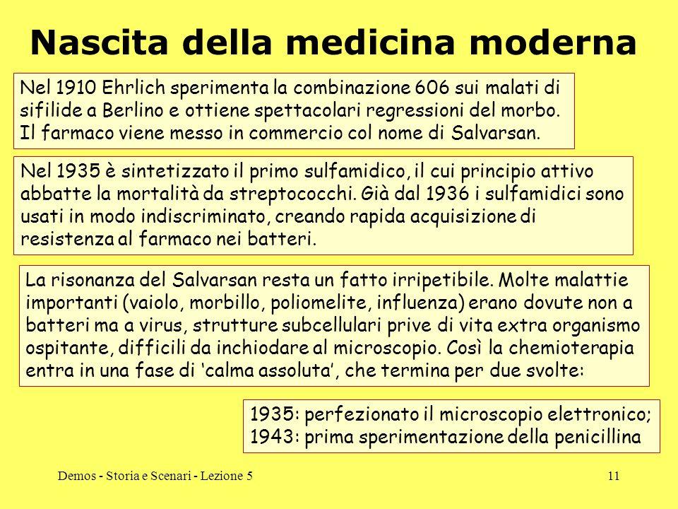 Demos - Storia e Scenari - Lezione 511 Nascita della medicina moderna Nel 1910 Ehrlich sperimenta la combinazione 606 sui malati di sifilide a Berlino