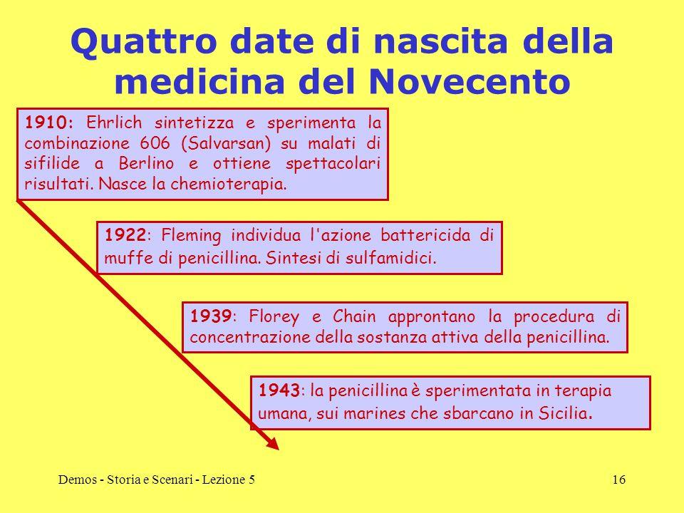 Demos - Storia e Scenari - Lezione 516 Quattro date di nascita della medicina del Novecento 1910: Ehrlich sintetizza e sperimenta la combinazione 606