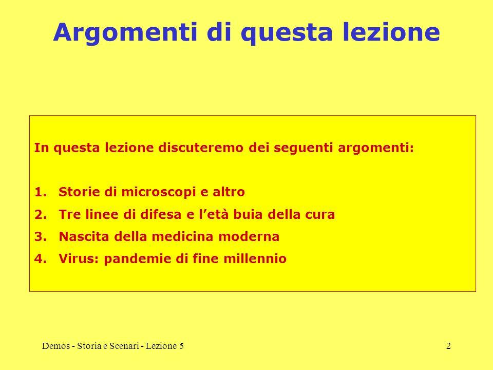 Demos - Storia e Scenari - Lezione 52 Argomenti di questa lezione In questa lezione discuteremo dei seguenti argomenti: 1.Storie di microscopi e altro