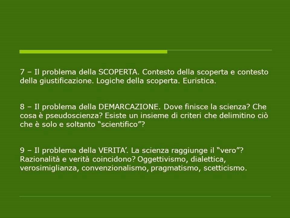 7 – Il problema della SCOPERTA. Contesto della scoperta e contesto della giustificazione. Logiche della scoperta. Euristica. 8 – Il problema della DEM