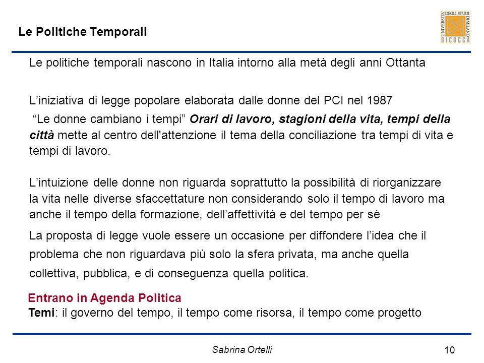 Sabrina Ortelli 10 Le Politiche Temporali Le politiche temporali nascono in Italia intorno alla metà degli anni Ottanta Liniziativa di legge popolare