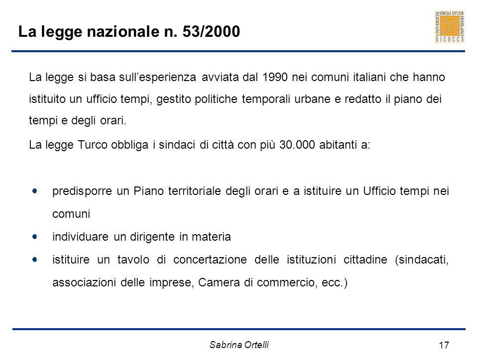 Sabrina Ortelli 17 La legge nazionale n. 53/2000 predisporre un Piano territoriale degli orari e a istituire un Ufficio tempi nei comuni individuare u