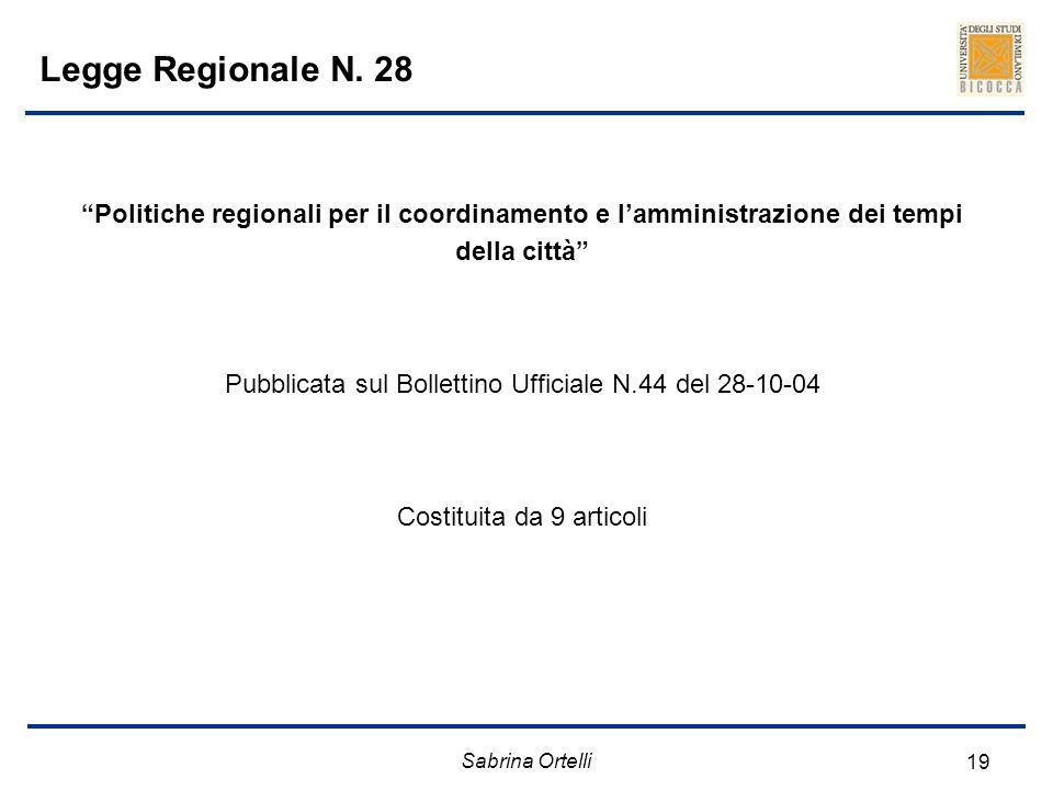 Sabrina Ortelli 19 Legge Regionale N. 28 Politiche regionali per il coordinamento e lamministrazione dei tempi della città Pubblicata sul Bollettino U