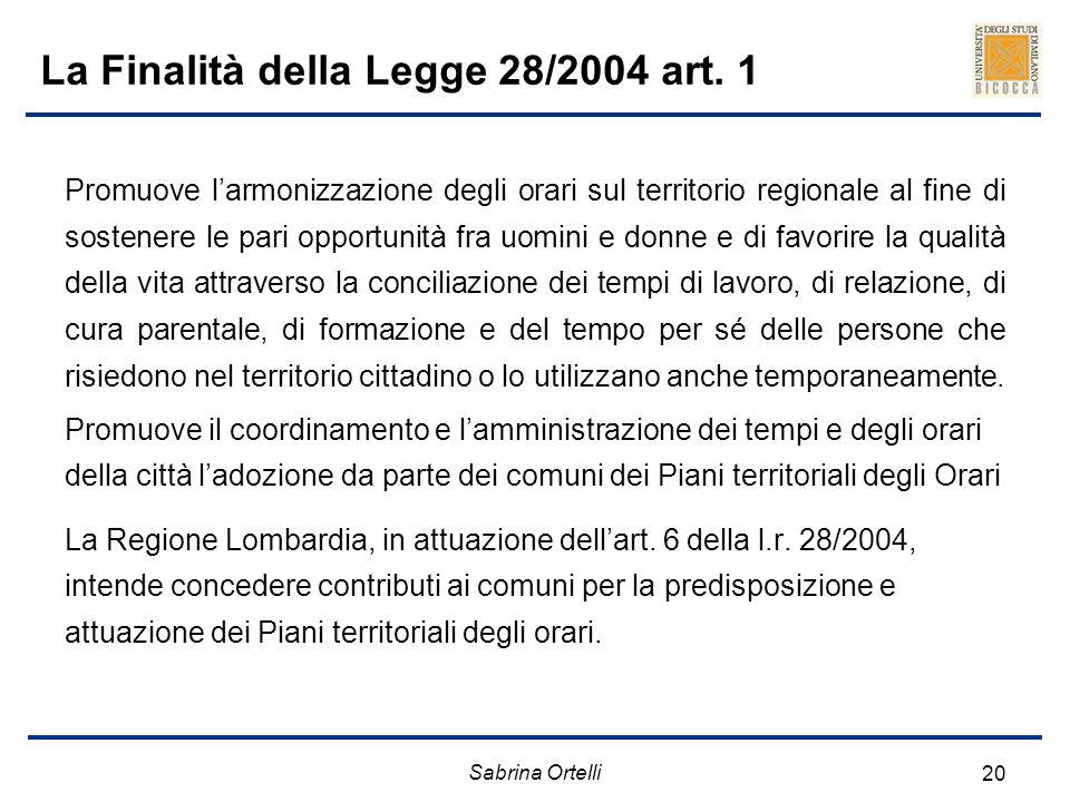 Sabrina Ortelli 20 La Finalità della Legge 28/2004 art. 1 Promuove larmonizzazione degli orari sul territorio regionale al fine di sostenere le pari o
