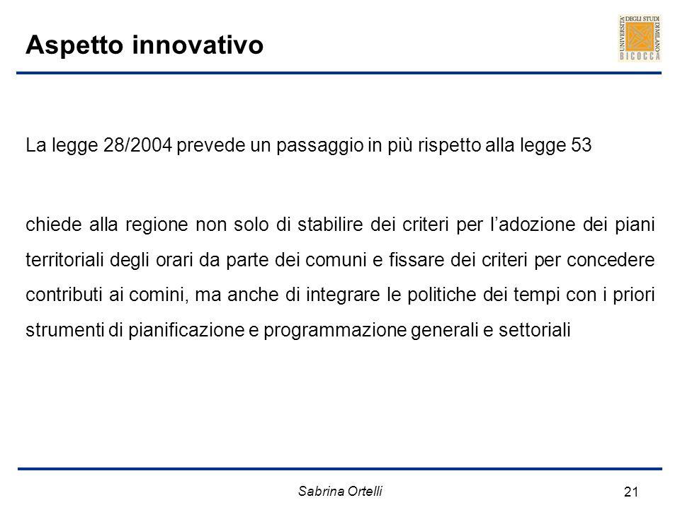 Sabrina Ortelli 21 Aspetto innovativo La legge 28/2004 prevede un passaggio in più rispetto alla legge 53 chiede alla regione non solo di stabilire de