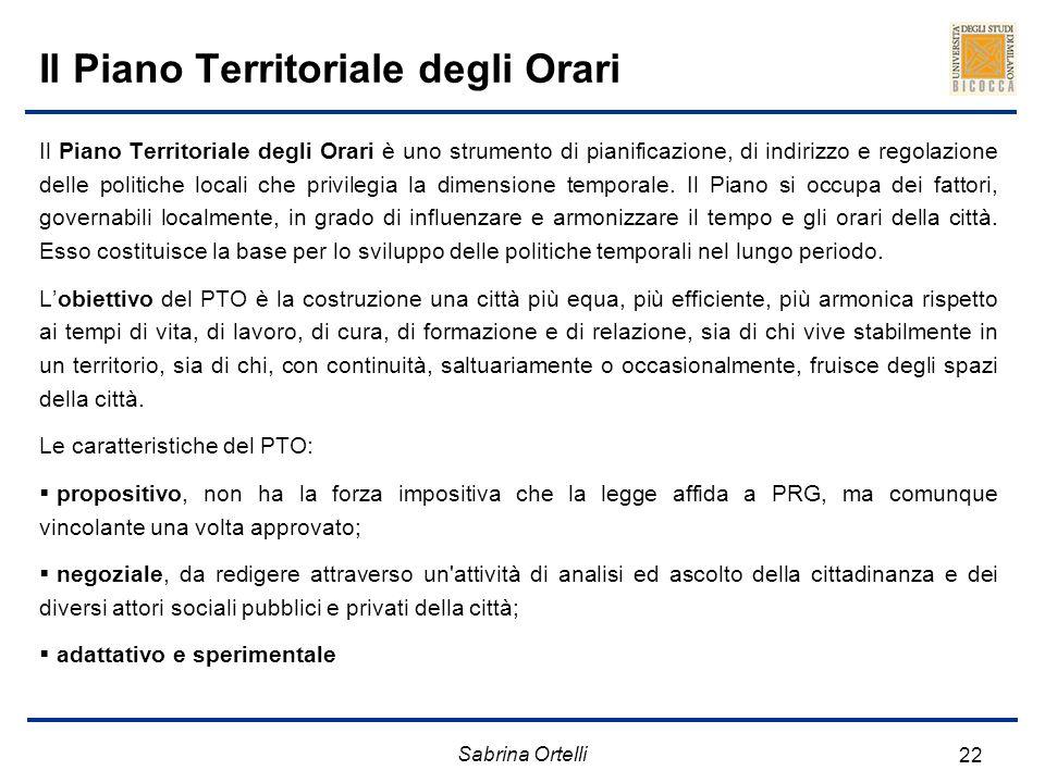 Sabrina Ortelli 22 Il Piano Territoriale degli Orari Il Piano Territoriale degli Orari è uno strumento di pianificazione, di indirizzo e regolazione d