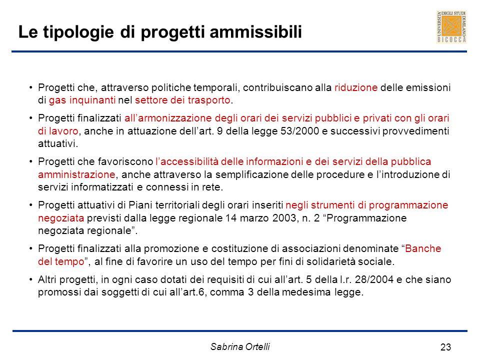 Sabrina Ortelli 23 Le tipologie di progetti ammissibili Progetti che, attraverso politiche temporali, contribuiscano alla riduzione delle emissioni di